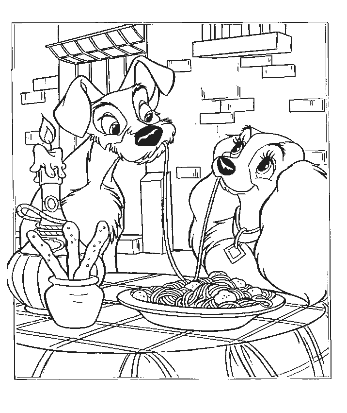 Lady And The Tramp 133325 Animation Movies Printable Coloring Pages