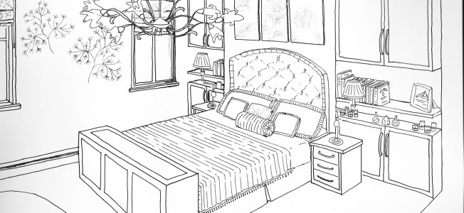 Bedroom (Buildings and Architecture) - Printable coloring ...
