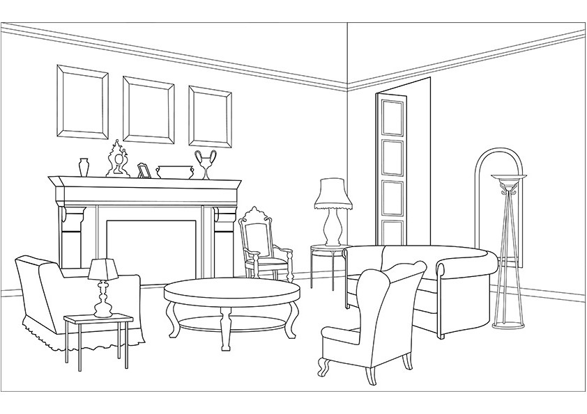 Living room (Buildings and Architecture) - Printable ...