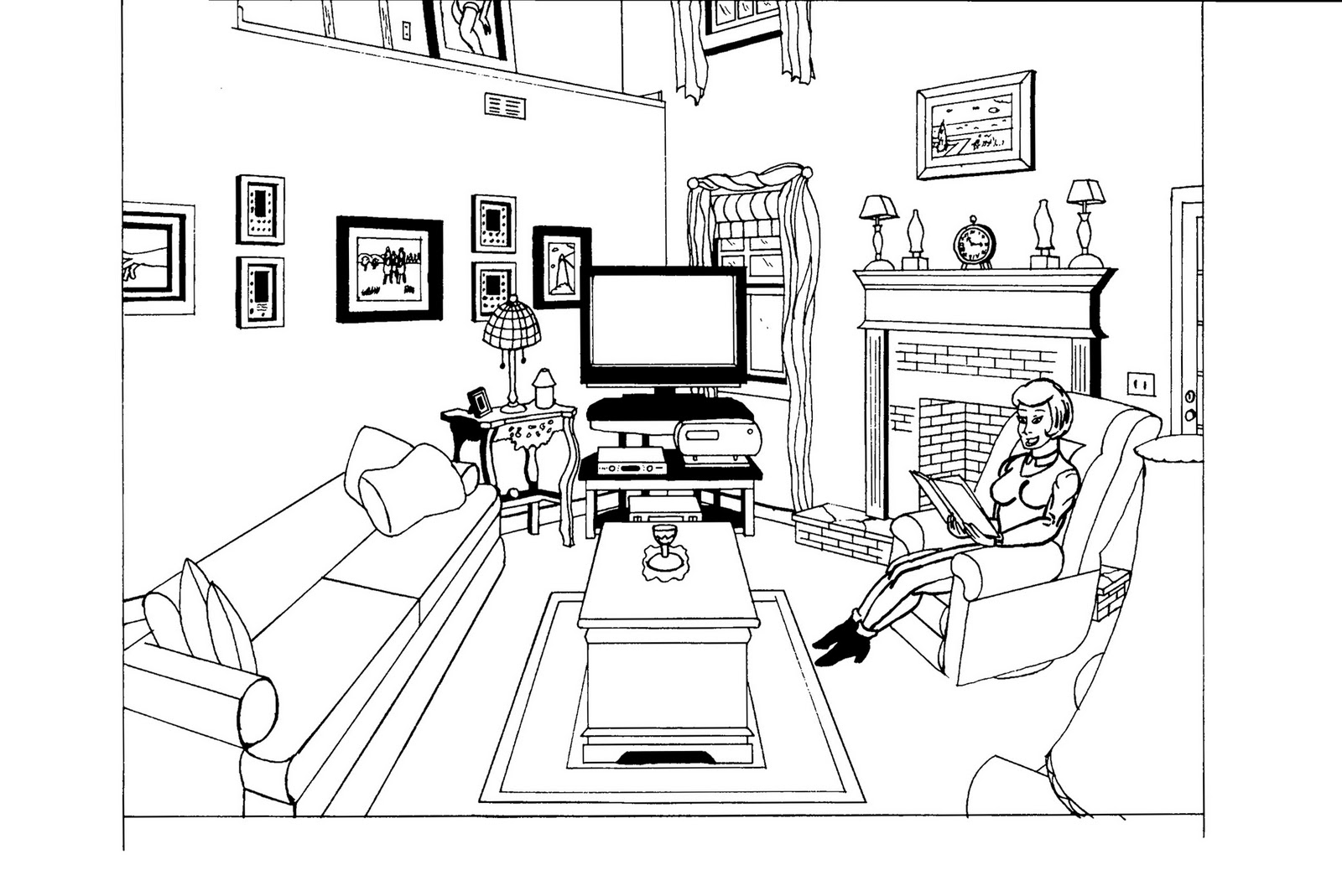 Living Room 63257 Buildings And Architecture Printable Coloring Pages