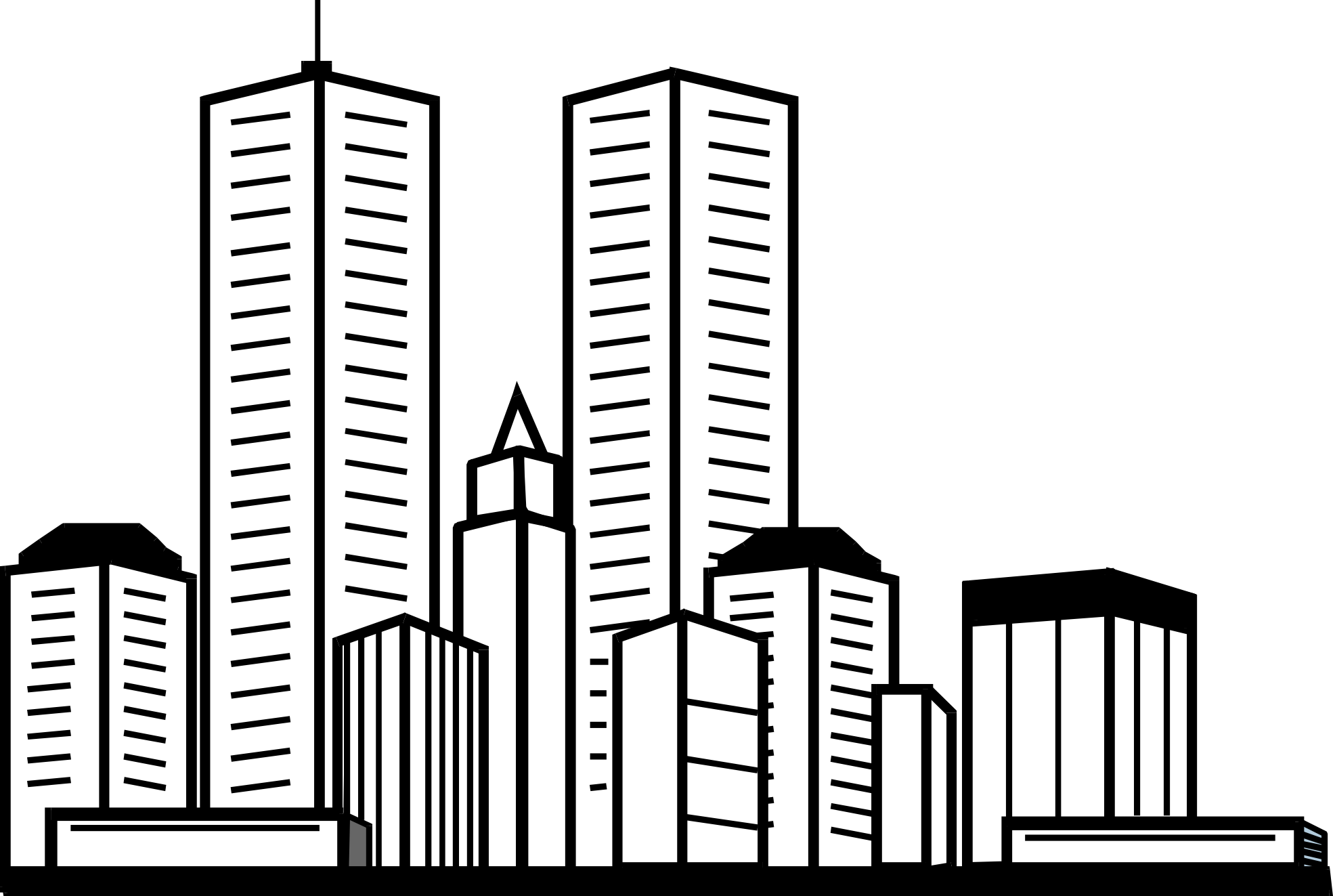 Skyscraper Buildings And Architecture Printable Coloring Pages