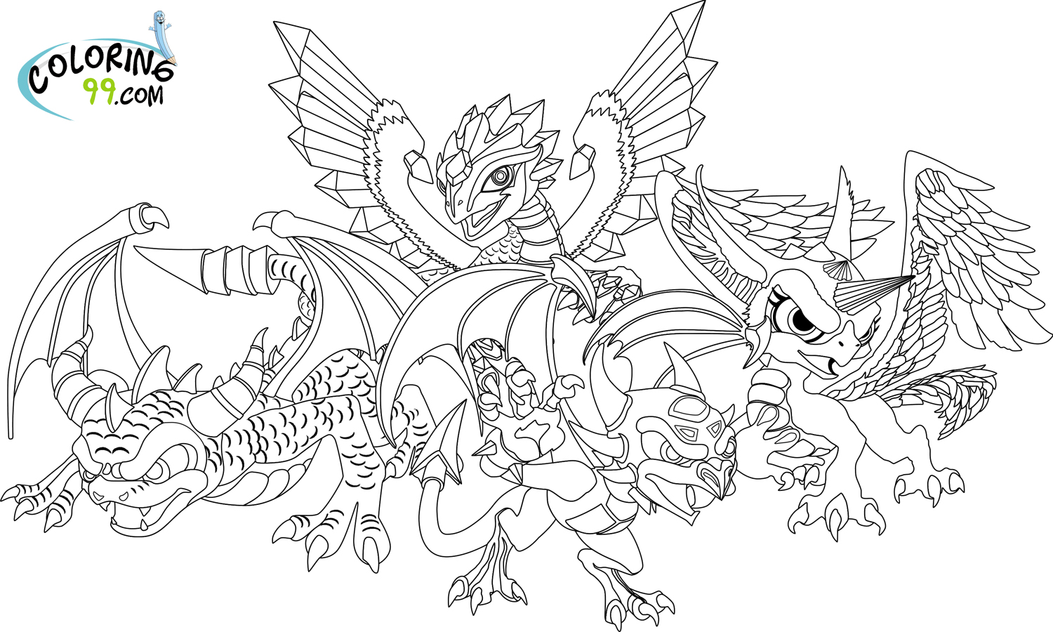 Dragon 18 Characters – Printable coloring pages