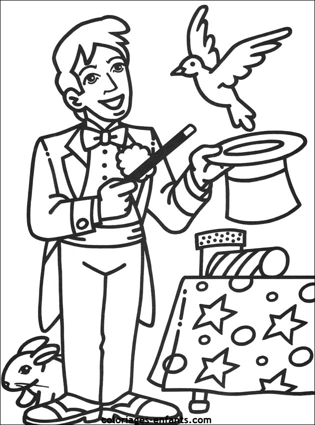 Magician Characters Printable Coloring Pages