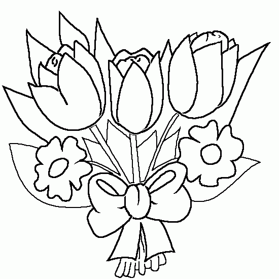 Bouquet Of Flowers Nature Printable Coloring Pages