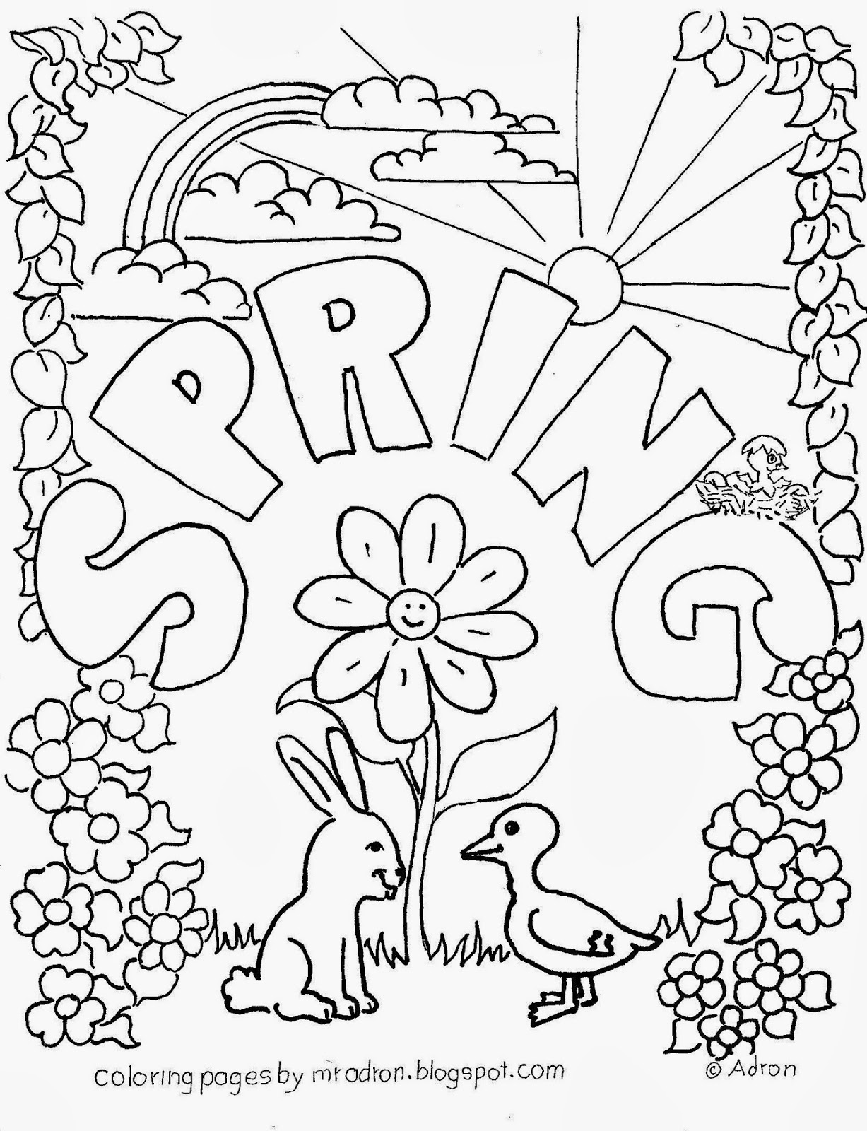 Spring season #3 (Nature) – Printable coloring pages