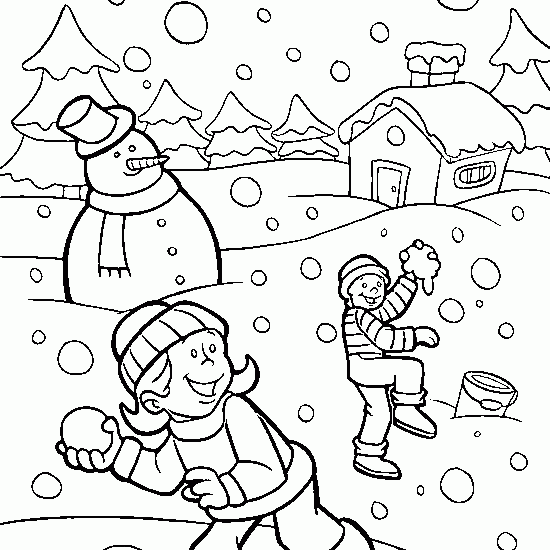 Winter season (Nature) – Printable coloring pages