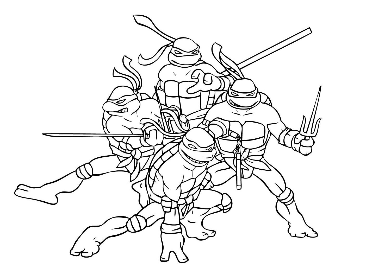 Ninja Turtles Superheroes Printable Coloring Pages