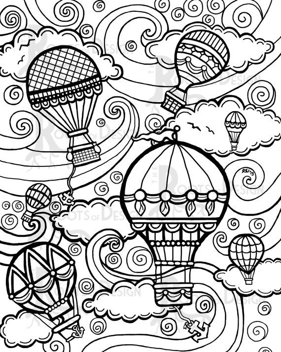 Hot Air Balloon (Transportation) – Printable Coloring Pages