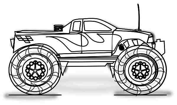 Monster Truck Transportation Printable Coloring Pages