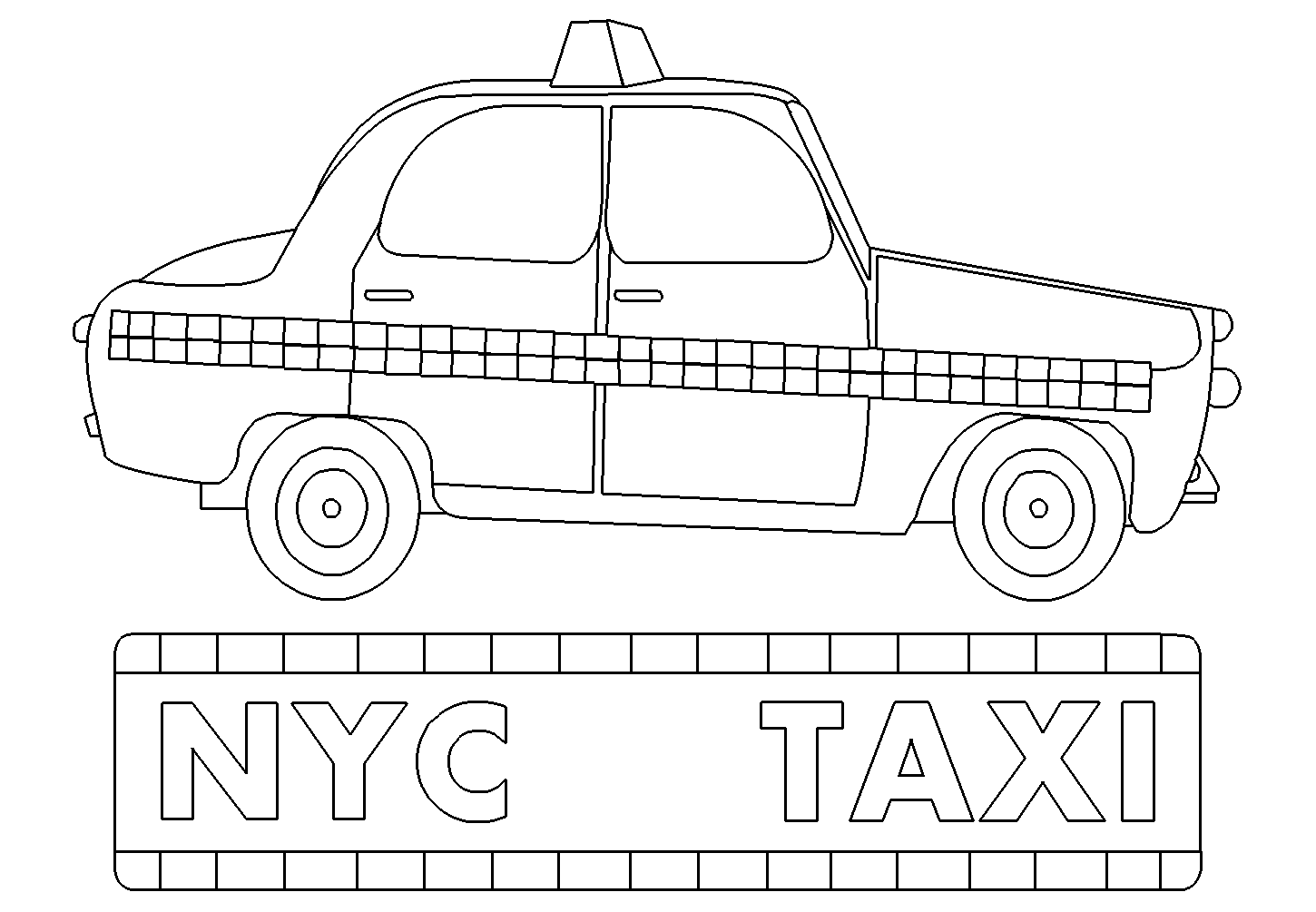 Taxi 32 Transportation – Free coloring pages