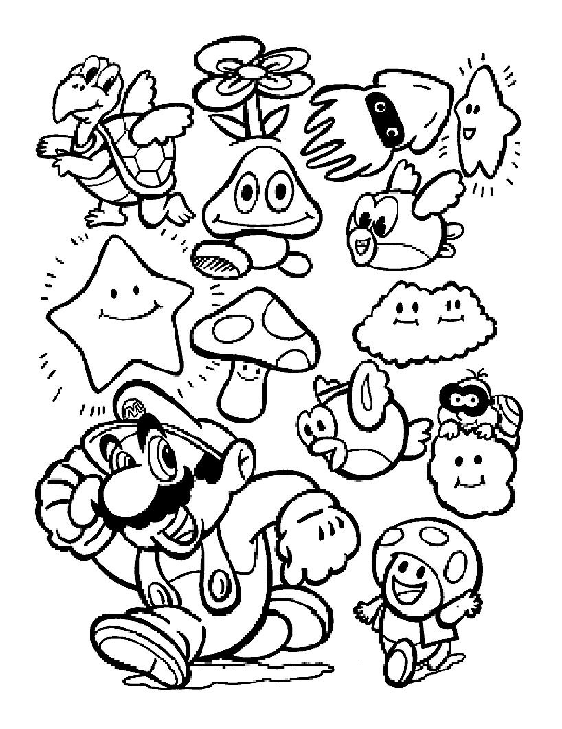 Mario Bros 32 Video Games – Printable coloring pages